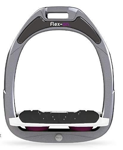 【Amazon.co.jp 限定】フレクソン(Flex-On) 鐙 ガンマセーフオン GAMME SAFE-ON Mixed ultra-grip フレームカラー: シルバー グレー フットベッドカラー: ホワイト エラストマー: プラム 08627