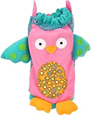 Socobeta Babyflaska påse, giftfritt tyg söta tecknade figurer indragbara fästremmar säker baby tecknad flaska handväska för flaska för barn (svart uggla)