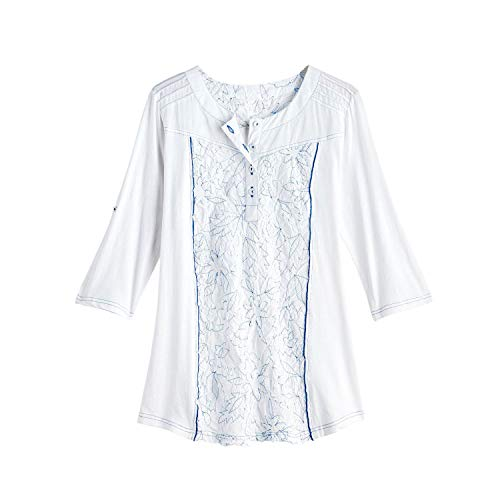 (Parsley & Sage Women's Topstitched Tunic Top - White Cotton Floral Print Shirt - Medium )