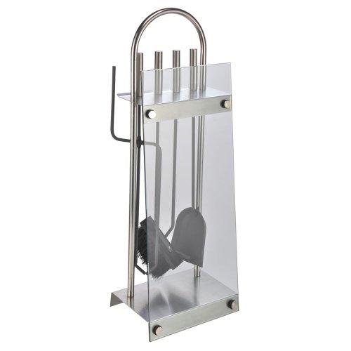 Moderner Kaminbesteck-Ständer 5-tlg. aus hochwertigem Edelstahl und Glas 60191