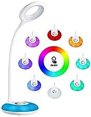 Hihigou lampka biurkowa dla dzieci, przyciemniana lampka do czytania 3,2 W, sterowanie dotykowe, zmiana kolorów i 3 poziomy jasności, port ładowania USB, elastyczna lampa stołowa 360 stopni
