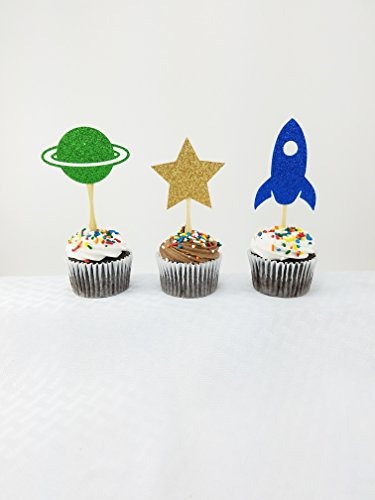 Outer Space Cupcake Topper 12 CT - Space Baby Shower - Out of this World - Boy Birthday Decorations - Cake Topper - Space Party - Glitter