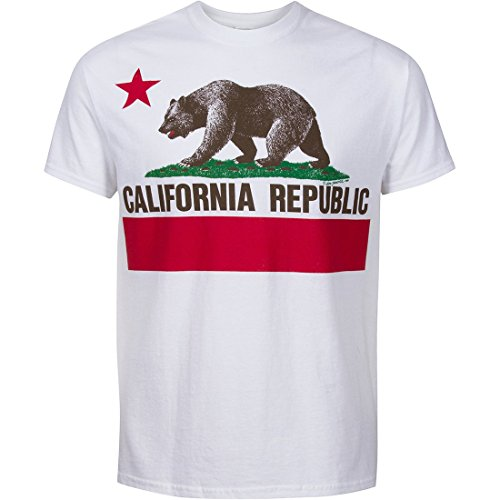 California State Flag Short Sleeve Front Print Shirt - White Small