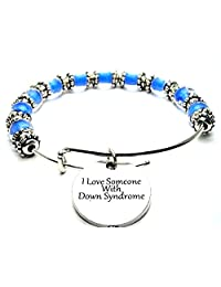 I Love Someone with Down Syndrome Cobalt Blue Glass Beaded Bangle Adjustable Bracelet