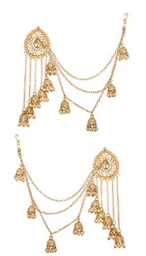 Bindhani Fashion Bollywood Jewellery Traditional Ethnic Bridal Bride Wedding Bridesmaid Gold Plated Kundan Pearl Drop Jhumka Jhumki Head chain Indian Bahubali Earrings Jewelry For Women (Earrings Indians)