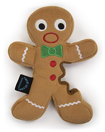 (goDog Holiday Gingerbread Man with Chew Guard Technology Durable Plush Dog Toy, Large, Tan)
