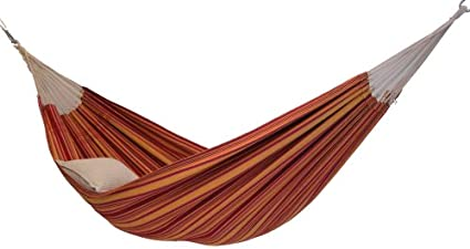 Byer of Maine Brazilian Barbados Outdoor Hammock by, Woven from Eco-Friendly Recycled Cotton, Single/Twin Size