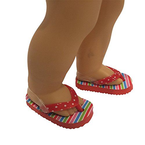 Red Polka Dot Flip Flops for 18 inch Dolls