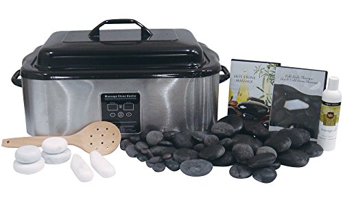 (Signature Hot Stone & Cold Stone Massage Kit with 18 Quart Digital Stone Warmer by NRG - Set of 50 Deluxe Massage Stones, 6 Marble Body Stones, DVD and Lotus Touch Organic Naturals Massage Oil 8 oz.)