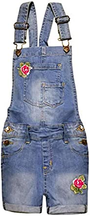 Kids Girls Denim Dungaree Shorts Embroidered Roses Stretch Jean Overall Jumpsuit