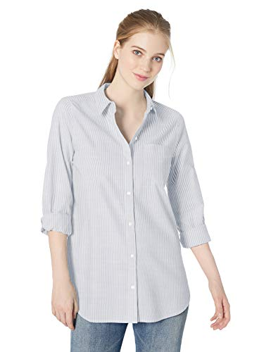 Amazon Brand - Daily Ritual Women's Broken-in Cotton Button-Front Tunic Shirt, White/Light Blue Stripe, X-Large