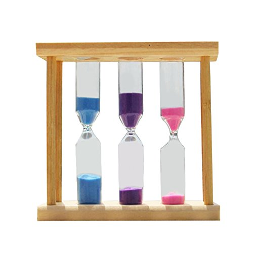 MagiDeal Three-In-One Wooden Hourglass Sandglass Sand Timer Clock 5+10+15 Minutes