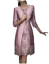 Promworld Women's Lace Applique Mother of The Bride Dress Tea Length Mother of The Groom Dress with Jacket