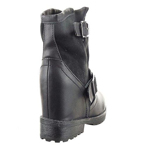 Sopily - Scarpe da Moda Stivaletti - Scarponcini zeppa Stivali arricciati Low boots donna fibbia Tacco a blocco 3.5 CM - soletta sintetico - foderato di pelliccia - Nero