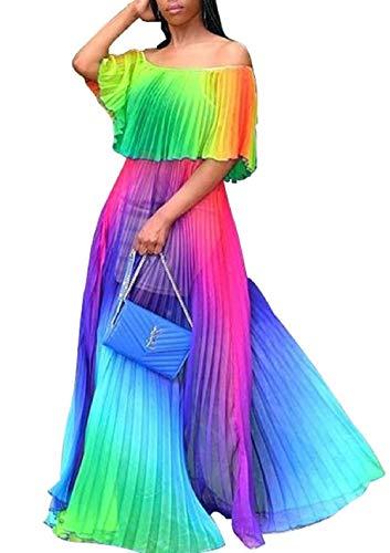 (Women's Off The Shoulder Ruffles Summer Loose Casual Chiffon Long Party Beach Maxi Dress)