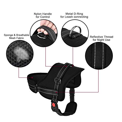 Slowton No Pull Dog Vest Harness, 2018 New Generation Adjustable Neck Strap Chest Strap Breathable Padded Vest with Top Handle Harness with Locking Buckle for Large Dog Training Walking by Slowton (Image #4)