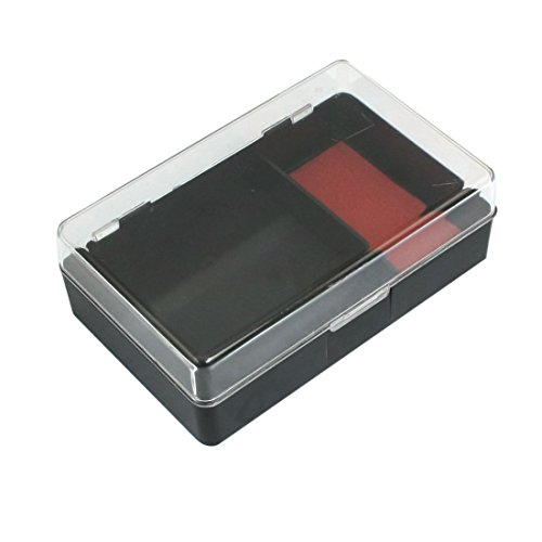 Plastic Inkpad Stamper Storage Box Case Holder, Red Black