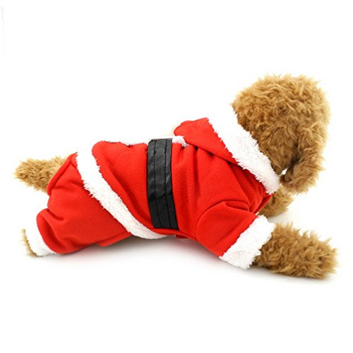 [SELMAI Small Pet Christmas Costumes Puppy Outfit Santa Dog Jumpsuit Hooded Dog Fleece Coat with Pants Apparel] (Cute Santa Outfits)