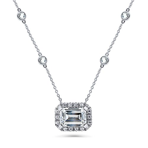 BERRICLE Rhodium Plated Silver Emerald Cut Cubic Zirconia CZ Halo Pendant Necklace 16