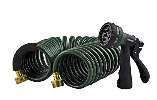 Instapark GHN-06-25 Heavy-Duty EVA Recoil Garden Hose 25ft with 7-Pattern Spray Nozzle, Green, 25 Foot