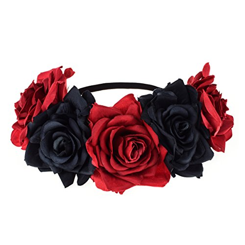 Love Sweety Rose Flower Headband Floral Crown Wreath Garland Halo (Red (Day Of The Dead Accessories)