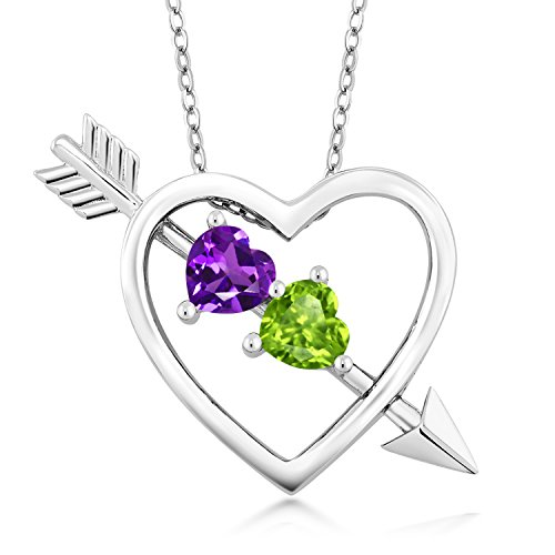(Gem Stone King Purple Amethyst and Green Peridot 925 Sterling Silver Heart & Arrow Women's Pendant Necklace 0.90 Ct with 18 Inch Silver Chain)