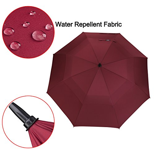 G4Free 546268 Inch Automatic Open Golf Umbrella Extra Large Oversize Double Canopy Vented Windproof Waterproof Stick Umbrellas