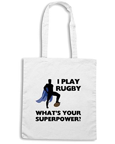 T-Shirtshock - Borsa Shopping TRUG0064 rugby superhero logo Bianco