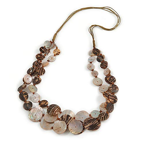 Avalaya Long Multistrand Brown Shell Necklace with Olive Cotton Cords - 80cm L