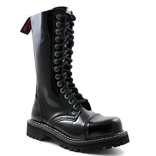 Angry Itch - 14-trous gothique punk cuir verni noir rangers avec zip - pointures 36-48 - Fabriquée en EU!