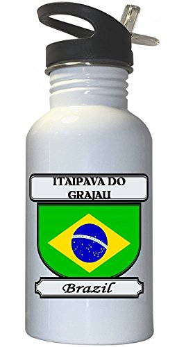 itaipava-do-grajau-brazil-city-white-stainless-steel-water-bottle-straw-top
