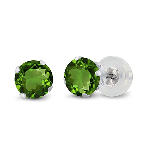 1.00 Ct Round Green Chrome Diopside 10K White Gold 4-prong Stud Earrings 5mm (Round Diopside)