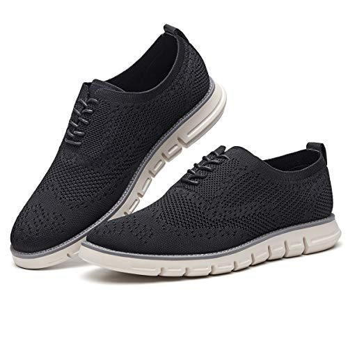 Men's Oxford Sneaker Flyknit Wingtip-Classic Lace Up Casual Shoes Delicate Cancellate Knitting Upper Black 10.5