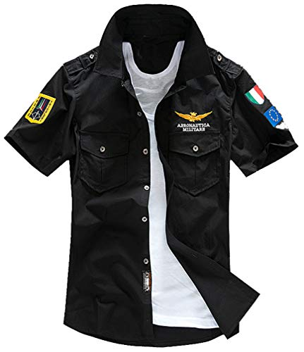 (Lavnis Men's Flight Shirts Jacket Casual Short Sleeve Lightweight T-Shirt Jackets Black L )