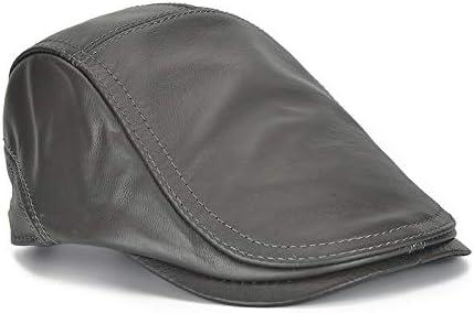 野球帽 キャスケット メンズ 鳥打帽 ゴルフ 革 調整可能 日よけ 防風 純色 ハンチング 56-60cm LWQJP (Color : Dark brown, Size : One Size)