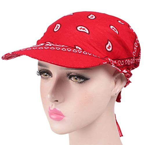 Qhome Unisex Paisley Visor Pre Fitted Bandana Hat Outdoor Sun Bandans Cap Head Scarf Bandit Turban - Bandit Head Scarf