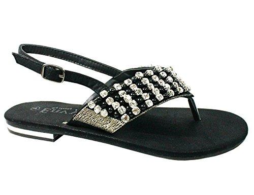 fiesta Negro sandalias slingbacks plana elegantes diamante mujer de señoras Nueva brillantes qpvz0n