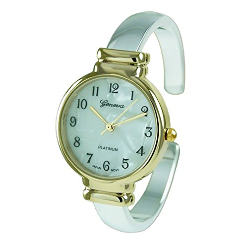 Rosemarie Collections Women's Mother of Pearl Metal Cuff Watch (Two Tone)