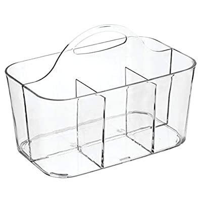mDesign Small Office Storage Organizer Utility Tote Caddy Holder with Handle for Cabinets, Desks, Workspaces - Holds Desktop Office Supplies, Gel Pens, Pencils, Markers, Staplers