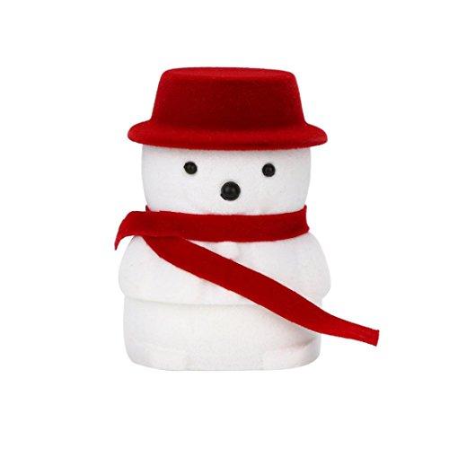 Snowman Velvet - Lavany Jewelry Box,Christmas doll box Snowman Velvet Jewelry Organizers Gift Display Box Ring Pendant Earring Boxes (Red)