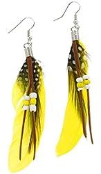 Teens Girls Womens Bohemian Natural Feather Earrings