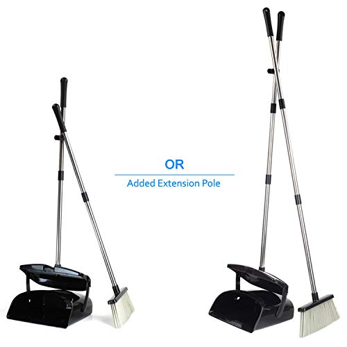 Broom and Dustpan Set, Commercial Long Handle Sweep Set and Lobby Broom,Upright Grips Sweep Set with Broom for Home, Kitchen, Room, Office and Lobby Floor Dust Pan & Broom Combo, Black by Laixiu (Image #4)
