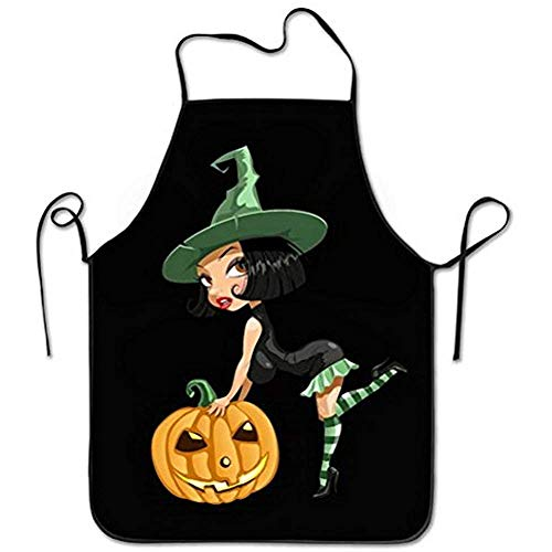 fudin Cute Pumpkin Sexy Witch Black Cooking Apron Kitchen Apron, Lock Edge Waterproof Durable String Adjustable Easy Care Aprons for Women Men Chef by ()