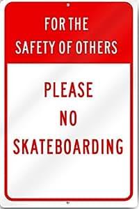 Para la seguridad de otros no Skateboarding Sign 12* 16inch reflectante de aluminio de calibre pesado