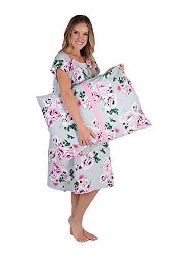 Delivery Maternity Hospital Gown and Pillowcase Set, Hospital Bag Must Have, Best Baby Shower Gift (Large/X-Large, Olivia) (Hospital Nursing Gown)