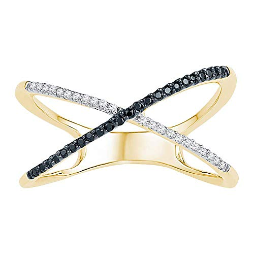 10k Yellow Gold Black Diamond Crossover Ring X Shape Band Crisscross Style Single Row Fancy .16 ct