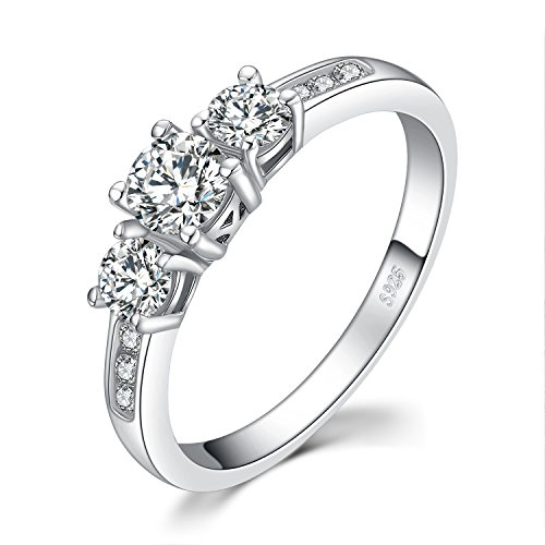 - JewelryPalace 3 Stone 1.3ct Cubic Zirconia Promise Wedding Engagement Ring 925 Sterling Silver size 8