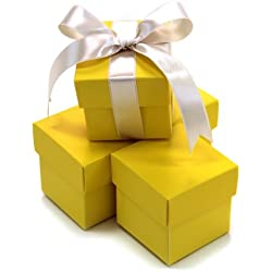 Koyal Wholesale 2-Piece 10-Pack Square Favor Boxes, Yellow