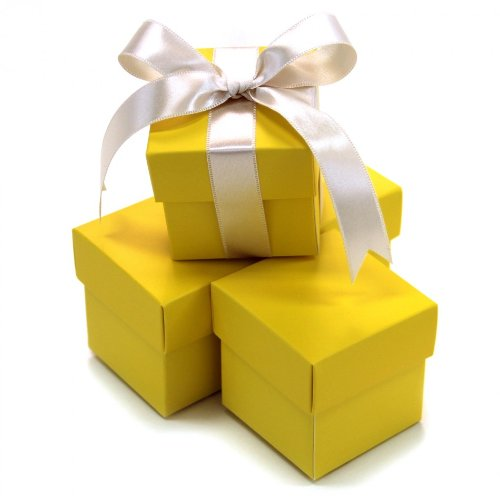 Koyal Wholesale 2-Piece 10-Pack Square Favor Boxes, - Yellow Box Party