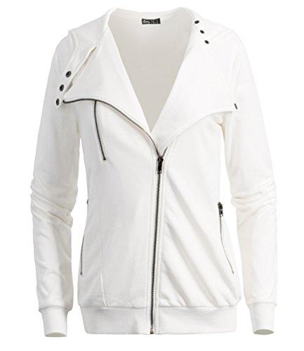 All Purpose Jacket - ililily Woman Cotton Slim Fit Sweatshirt Oblique Zipper Hoodie Jacket Coat, White, US-Medium
